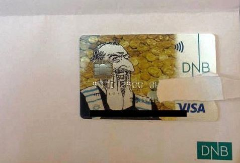 Anti-Semitic DNB card sent in 'error' from Norway's largest bank.