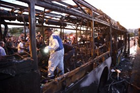 Bus explosion in Jerusalem on Moshe Bar'am Street April 18, 2016