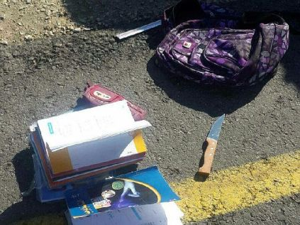 "The latest ""jihad"" weapon -- an Arab school girl's bag to hide the knife within."