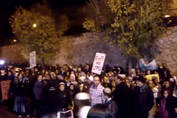 Protest against Shabak torture of Jewish children, outside the Shabak chief's house in Jerusalem - Dec, 19, 2015