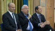 President of Israel, Reuven Rivlin (C) with Minister of Education Naftali Bennet (L) and Mayor of Jerusalem Nir Barkat during a meeting with school students in Jerusalem.
