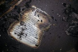 Burned holy books from the Synagogue at Givat Sorek near Carmei Tzur.