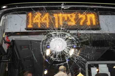 Bus stoned near Adam
