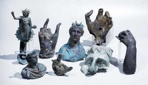The rare bronze artifacts that were discovered in Caesarea. Photographic credit: Clara Amit, courtesy of the Israel Antiquities Authority.