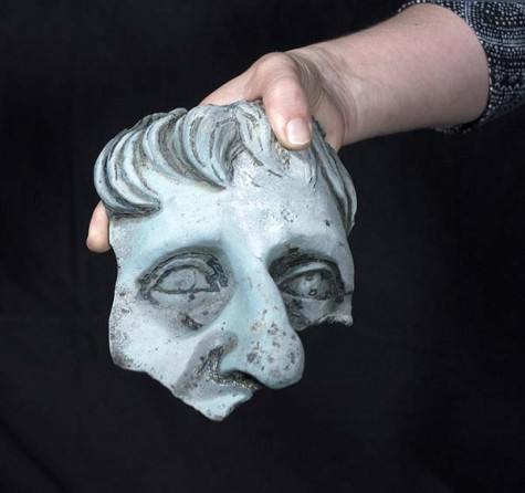 Fragment of a life-size head of a statue. Photographic credit: Clara Amit, courtesy of the Israel Antiquities Authority.
