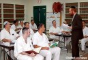 "Rabbi Dovid Goldstein—director of Chabad-Lubavitch of West Houston, associate director of Chabad Outreach in Houston and the lead Jewish chaplain in the Texas prison system—leads a ""shiur,"" a lesson, in the Jewish-enhanced program at the Stringfellow Unit, a Texas Department of Criminal Justice prison located in Rosharon, Brazoria County, Texas."