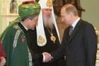 Chief Mufti of Russia Talgat Tadzhuddin (L), with President Putin (R).  February 21,  2001