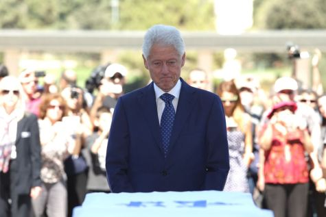 Bill Clinton at the Knesset saying good-bye to his friend Shimon Peres.