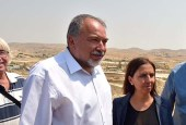Defense Minister Avigdor Liberman and Minister for Social Equality Gila Gamliel during a tour in the Negev, August 29, 2016.