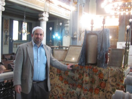 Dr Joseph Ringel with the Torah scrolls