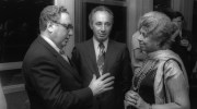 Shimon Peres (C) with then US Secretary of State Henry Kissinger (L) and MK Shulamit Aloni (R) during a reception at the Knesset in Jerusalem, on August 21, 1975.