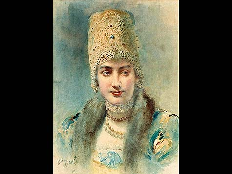 Girl in kokoshnik - Léon Bakst