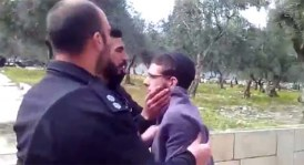 Avraham Fuah being arrested for singing Hatikva on Har Habayit. Feb. 8, 2106.