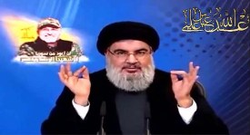 Hezbollah leader Hassan Nasrallah speaking last Friday / Screenshot