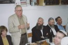 Dr. Irving Moskowitz speaking at Beit Orot on the Mount of Olives. (2011)