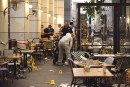 Israeli security forces at the scene where two terrorists opened fire at civilians in the Sarona Mall in Tel Aviv