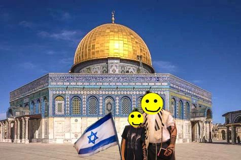 Jameel with Flag on Temple Mount