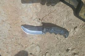 Knife used in attempted terror attack at Tapuach Junction in Samaria, Sept. 16, 2015.