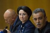 (L-R) Israeli Arab MKs Basel Ghattas, Hanin Zoabi and Jamal Zahalka.
