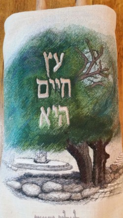 Lone Oak Torah Cover by Batsheva Arad of Bat Ayin.