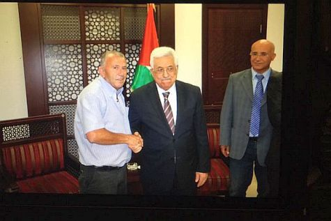 Ma'alot Mayor Shlomo Abuhbut with Palestinian Authority leader Mahmoud Abbas at the Muqata in Ramallah, Samaria.