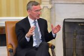 NATO Secretary General Jens Stoltenberg during visit with US President Barack Obama at the White House.