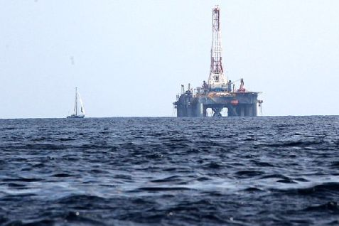 View of a gas drill in the Mediterranean Sea. (illustrative only)