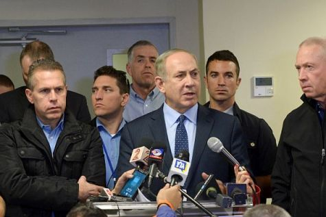 Israeli prime minister Benjamin Netanyahu, Minister of Public Security Gilad Erdan, Israel Police Commissioner Roni Alsheikh, Minister of Construction Yoav Galant and Minister of Interior Affairs Aryeh Deri brief media in the port city of Haifa, where flames forced 80,000 to evacuate from the city and surrounds.
