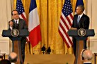 U.S. President Barack Obama and French President Francois Hollande at the White House. Nov. 24, 2105