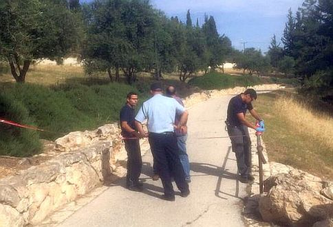 Israel Police search for terrorists in Jerusalem's Shalom Forest near the Armon HaNatziv neighborhood.