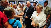 President and First Lady Rivlin greet visitors in the President's Sukkah in Jerusalem.