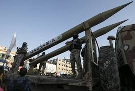 Qassam rocket being loaded by Palestinian Authority terrorists in Gaza to attack Israelis.