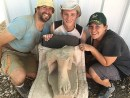 The three volunteer excavators who found the statue, from left to right: Valentin Sama-Rojo from Spain, Bryan Kovach from the United States, and Elanji Swart from South Africa. / Photo credit: Shlomit Bechar