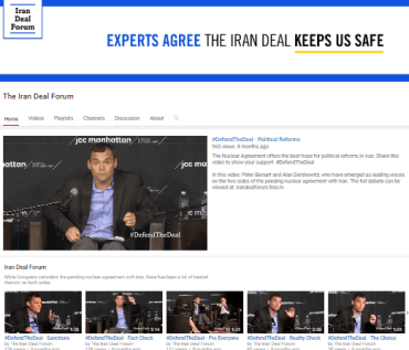 """The Iran Deal Forum"" promoting the Iran Deal with Peter Beinart videos."