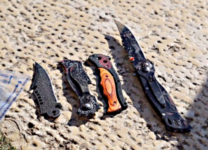 Knives recovered from Arab terrorists at Jaffa Gate attack on Dec. 23, 2015.