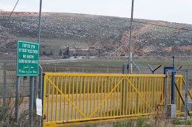 Dozens of military vehicles, armored personnel carriers, soldiers in Israeli uniforms, guard posts and checkpoints seen during shooting of a Lebanese film on the Lebanese side of the border near the northern Israeli town of Metulla on January 19, 2014.