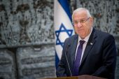 Israeli president Reuven Rivlin gives a brief statement about former President Shimon Peres at a ceremony where he received the report on eradicating racism against Ethiopians, from Justice Ministry director-general Emi Palmor (unseen), at the Presidential Residence in Jerusalem.