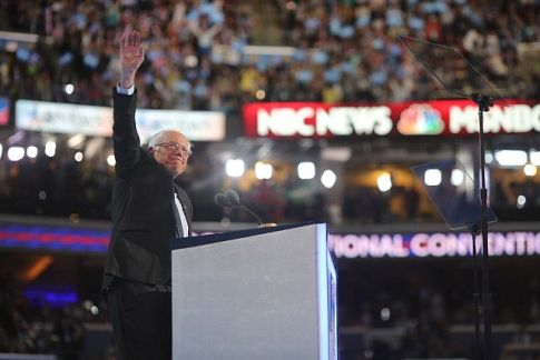 Vermont Senator Bernie Sanders at the 2016 Democratic National Convention in Philadelphia.