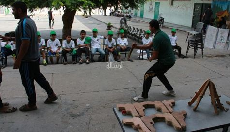 Hamas summer camp counselors teach various hand-to-hand attack methods to Gaza children.
