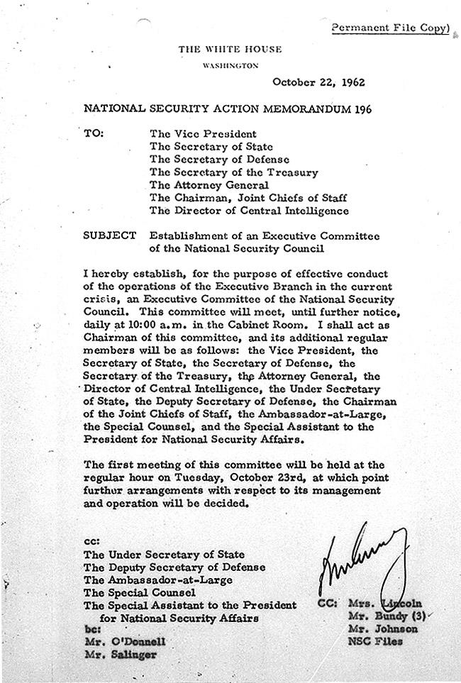 National Security Action Memorandum Number 196 JFK Library