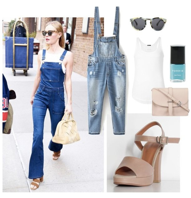 wear jean jumpsuit with platform sandal