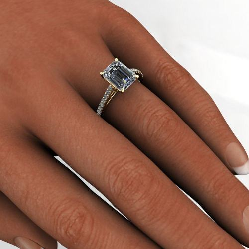 mia ring 2 5 carat emerald cut neo moissanite french pave engagement ring emerald cut wedding rings mm Emerald Mia model