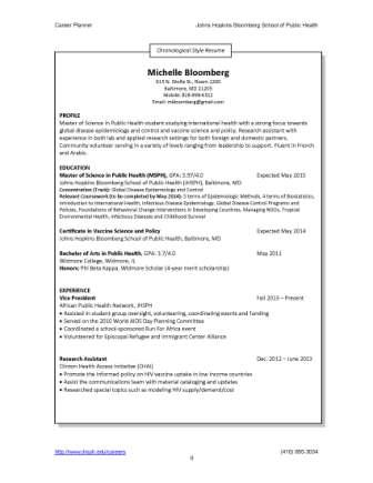Resumes and CVs - Career Resources - For Students - Career Services - Career Resume Examples