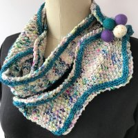 Tangiers in It Could Be Worsted in two colors wrapped into a cowl