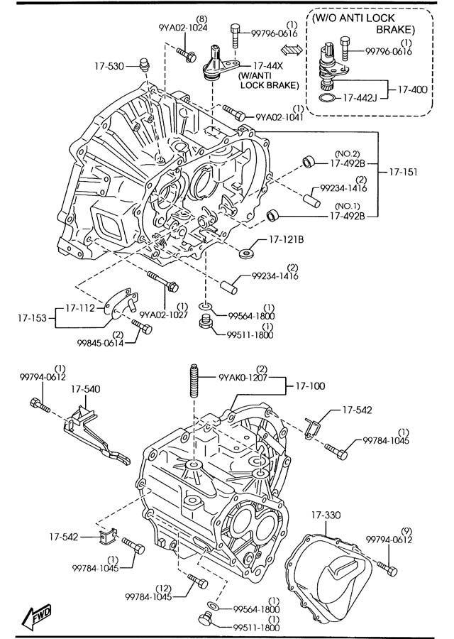 mazda protege manual transmission diagram