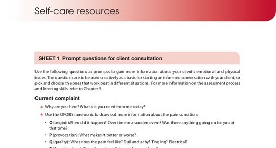 Prompt questions for client consultation - Massage Fusion - self care assessment