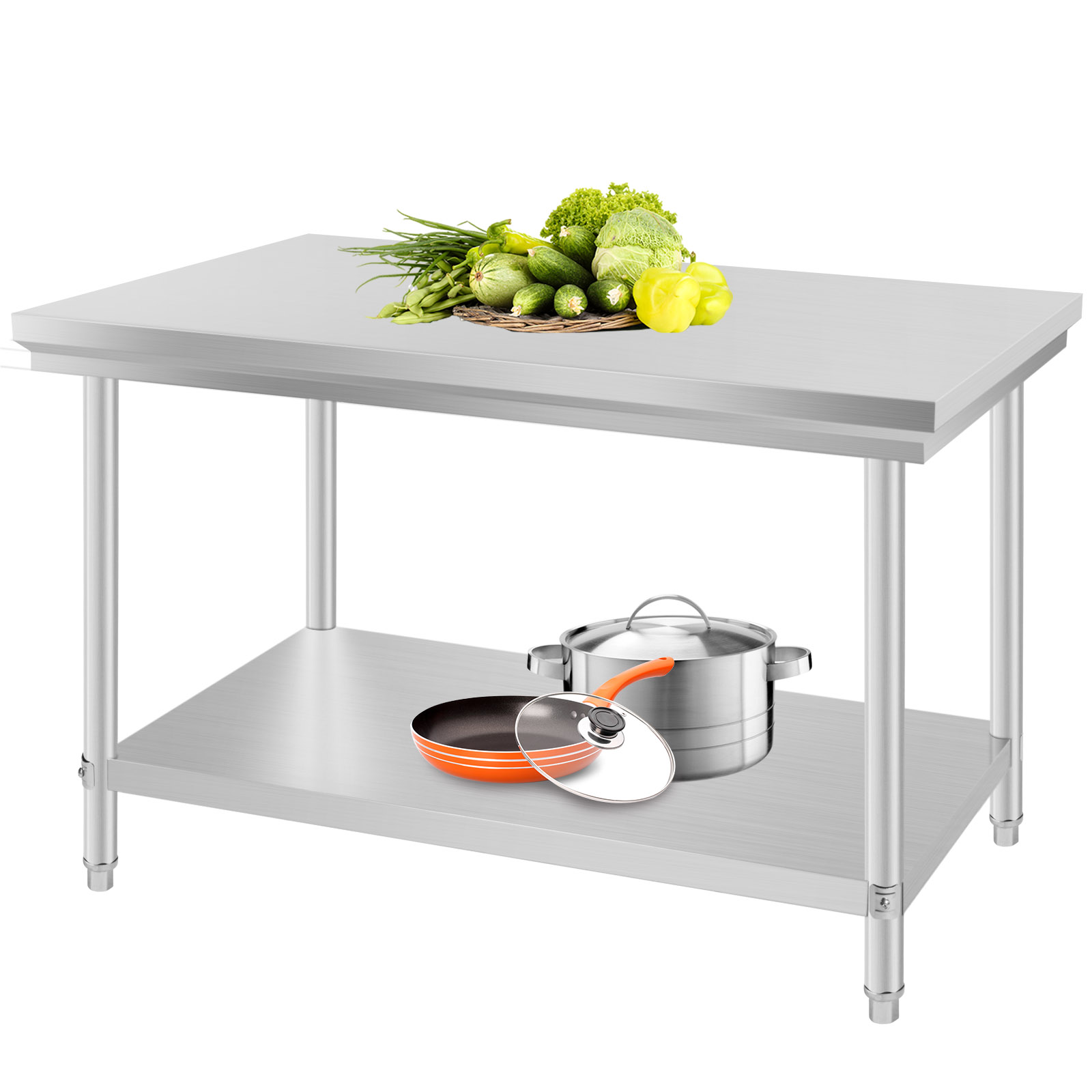 "24"" x 48"" Stainless Steel Kitchen Work Prep Table Storage"