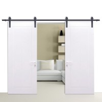 12FT Top Hung Double Sliding Barn Door Hardware Track Wood ...
