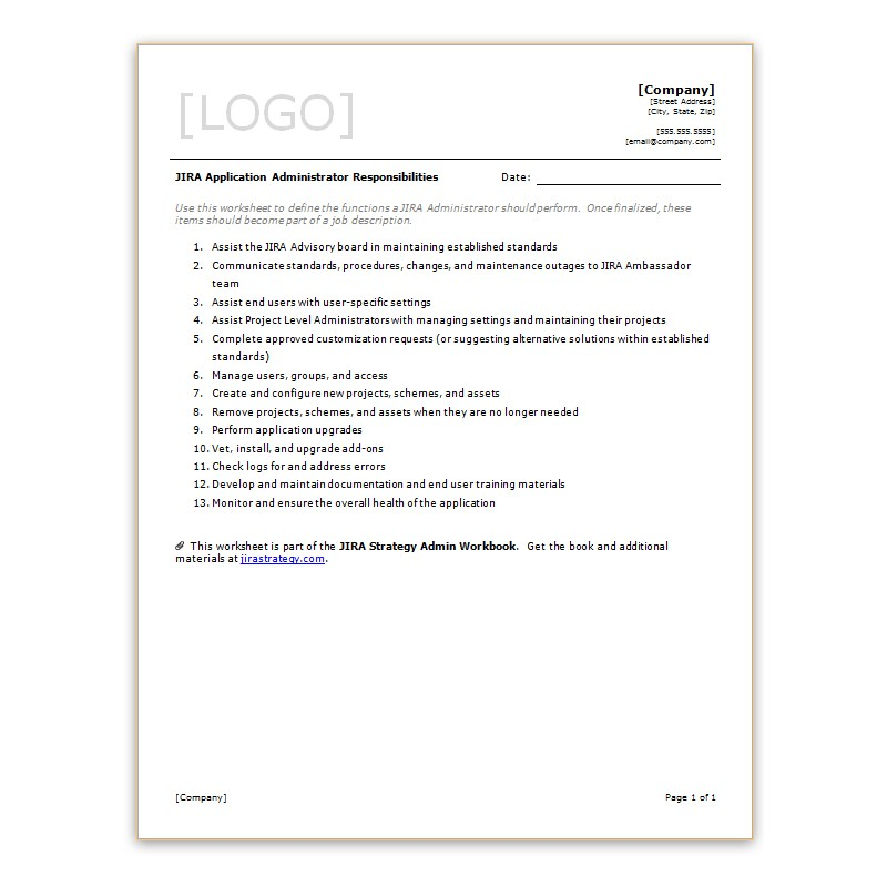 JIRA Application Administrator Responsibilities - Strategy for JIRA - administrator job description