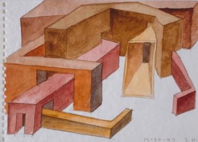 Steven Holl (*1947) Komposition aus verschiedenen Baukörpern 1997 Papier, Aquarell, über Vorzeichnung in Bleistift 123 x 174
